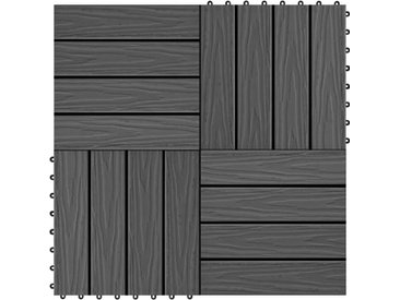 Carreau de terrasse en relief 11 pcs WPC 30 x 30 cm 1 m² Noir - vidaXL