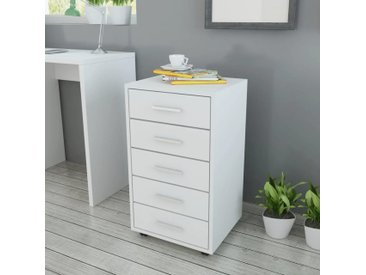 Caisson à tiroir de bureau avec roulettes et 5 tiroirs blanc - vidaXL