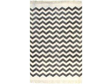 Tapis Kilim Coton 120 x 180 cm avec motif Noir/blanc - vidaXL