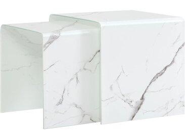 Tables gigognes 2 pcs Blanc Marbre 42x42x41,5 cm Verre trempé  - vidaXL