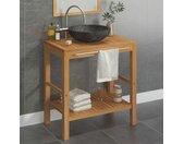 Armoire de toilette en teck solide avec lavabo en marbre Noir - vidaXL