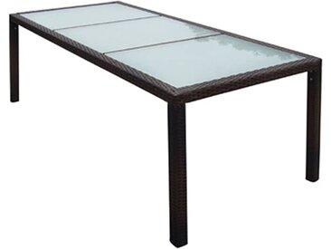 Table de jardin 190x90x75 cm Marron Résine tressée et verre - vidaXL