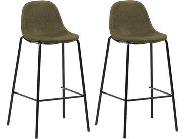 Chaises de bar 2 pcs Marron Tissu - vidaXL