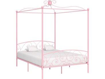 Cadre de lit à baldaquin Rose Métal 180 x 200 cm - vidaXL