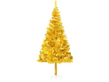 Sapin de Noël artificiel avec support Doré 210 cm PET - vidaXL
