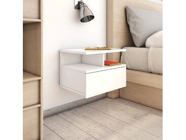 Table de chevet flottante Blanc brillant 40x31x27 cm Aggloméré - vidaXL
