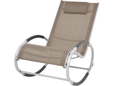 Chaise à bascule d'extérieur Taupe Textilène - vidaXL