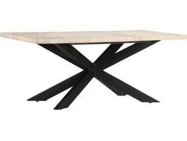 Table à dîner 180x90x76 cm Bois de manguier massif blanchi - vidaXL