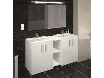 Meuble double vasque 4 portes Blanc brillant - BOVIELLE - vidaXL
