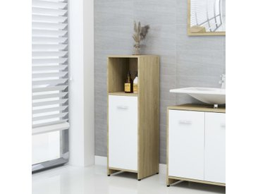 Armoire de bain Blanc et chêne sonoma 30x30x95 cm Aggloméré - vidaXL