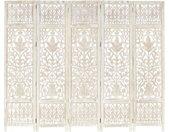 Cloison de séparation 5 panneaux Blanc 200x165 cm Bois manguier - vidaXL