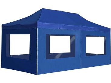 Tente de réception pliable avec parois Aluminium 6 x 3 m Bleu - vidaXL