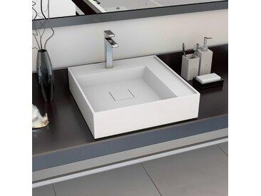 Lavabo 50x50x12,3 cm Fonte minérale/marbre Blanc - vidaXL