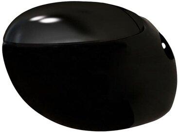 Cuvette WC suspendue noir avec abattant - vidaXL