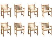 Chaises de jardin 8 pcs avec coussins crème Bois de teck massif - vidaXL