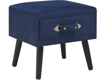 Table de chevet Bleu 40x35x40 cm Velours - vidaXL