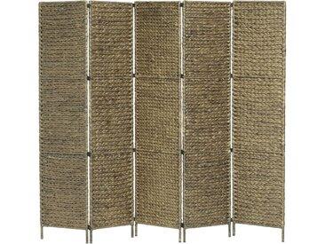 Cloison de séparation 5 panneaux Brun 193x160 cm Jacinthe d'eau - vidaXL