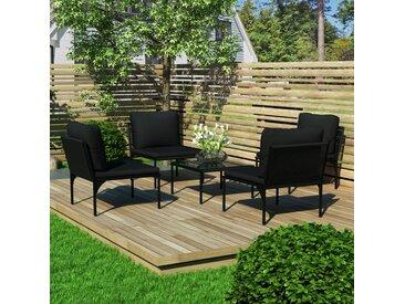 Salon de jardin 5 pcs avec coussins Noir PVC - vidaXL