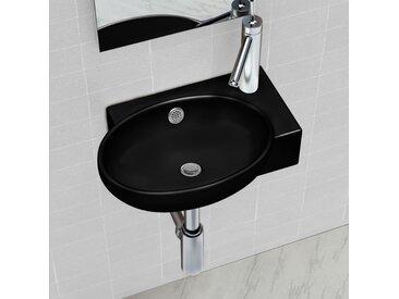 Vasque à trou de trop-plein/robinet céramique pour salle de bain Noir  - vidaXL