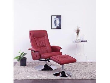 Fauteuil de massage avec repose-pied Rouge bordeaux Similicuir - vidaXL