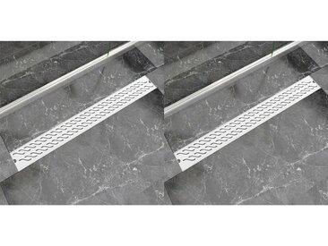 Drain de douche linéaire 2 pc 930 x 140 mm Acier inoxydable - vidaXL