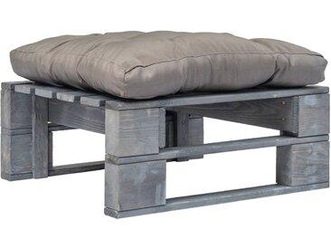 Repose-pied palette de jardin avec coussins gris Bois gris FSC - vidaXL