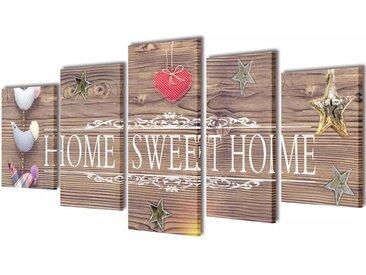 "Set de toiles murales imprimées ""Home Sweet Home"" 200 x 100 cm - vidaXL"