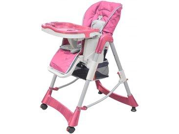 Chaise haute pour bébés Deluxe Rose Hauteur réglable - vidaXL