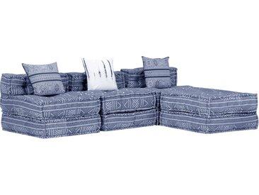 Pouf modulaire à 3 places Indigo Tissu - vidaXL