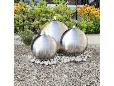 3 pcs Sphères de fontaine de jardin avec LED Acier inoxydable - vidaXL