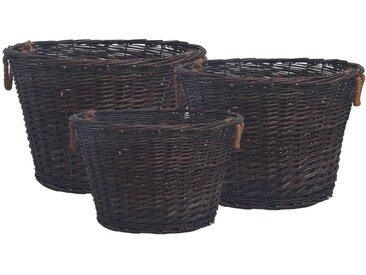 Jeu 3 paniers empilables à bois de chauffage Marron foncé Saule - vidaXL