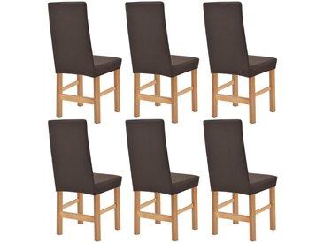 Housse extensible de chaise 6 pièces Piqué Marron - vidaXL