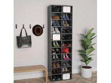 Armoire à chaussures Gris brillant 54x34x183 cm Aggloméré - vidaXL