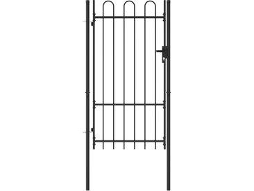 Portillon simple porte avec dessus arqué Acier 1x1,75 m Noir - vidaXL