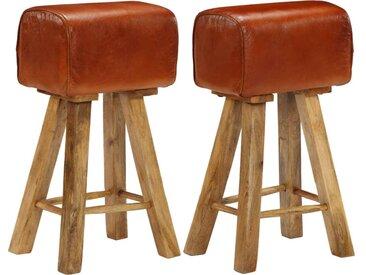 Chaises de bar 2 pcs Cuir véritable et bois de manguier solide - vidaXL