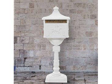 Boîte aux lettres sur pied Aluminium Vintage Antirouille Blanc - vidaXL