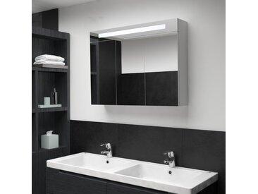 Armoire de salle de bain à miroir LED 88x13x62 cm - vidaXL