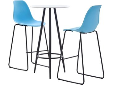 Ensemble de bar 3 pcs Plastique Bleu - vidaXL