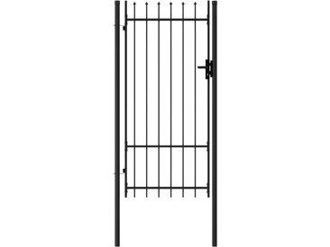 Portillon simple porte avec dessus à pointe Acier 1x2 m Noir - vidaXL