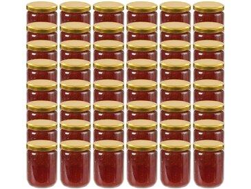 48 pcs Pots à confiture avec couvercle doré Verre 230 ml - vidaXL