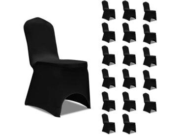 Housses élastiques de chaise Noir 18 pcs - vidaXL