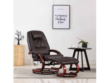 Fauteuil de massage avec repose-pied Marron Similicuir - vidaXL