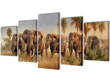 Set de toiles murales imprimées Éléphants 200 x 100 cm - vidaXL