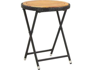 Table à thé Noir 60 cm Résine tressée et bois d'acacia solide - vidaXL