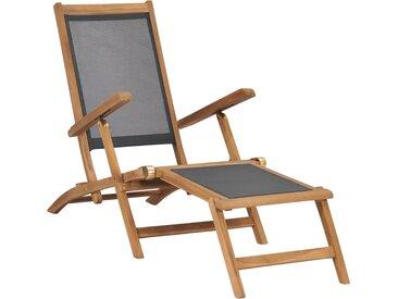Chaise de terrasse avec repose-pied Bois de teck solide Noir - vidaXL
