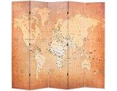 Cloison de séparation pliable 200 x 170 cm Carte du monde Jaune - vidaXL