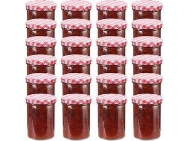 24 pcs Pots à confiture Couvercle blanc et rouge Verre 400 ml - vidaXL