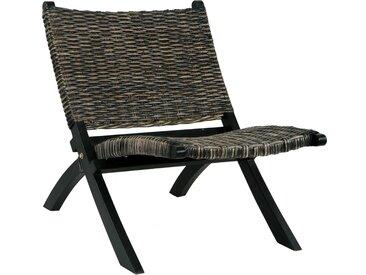 Chaise de relaxation Noir Rotin naturel kubu et bois d'acajou - vidaXL