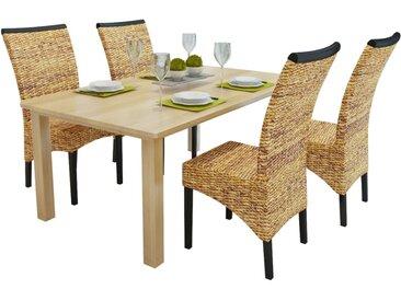 Chaises de salle à manger 4pcs Bois solide de manguier et abaca - vidaXL