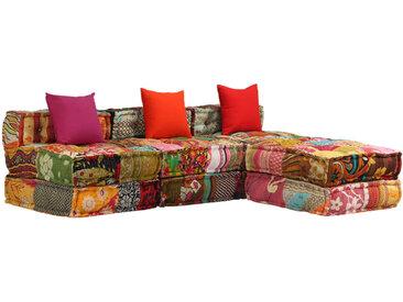 Canapé-lit modulaire à 3 places Tissu Patchwork - vidaXL